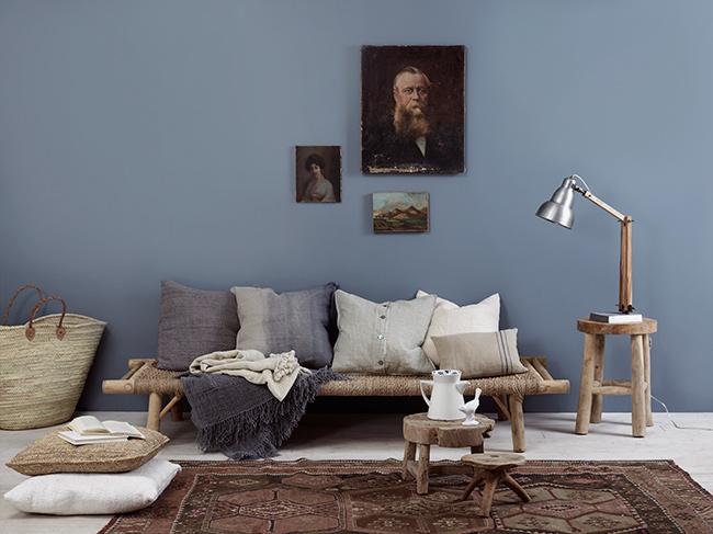 Blå färger på väggarna