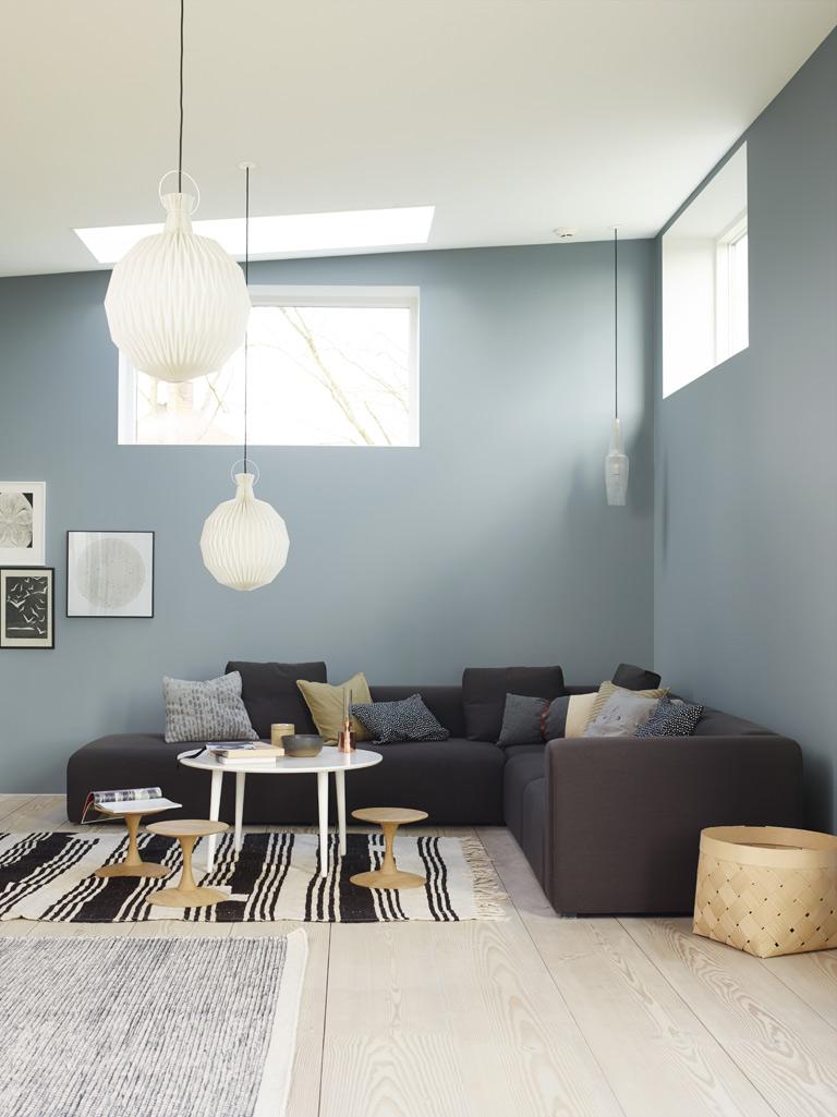 Blått vardagsrum