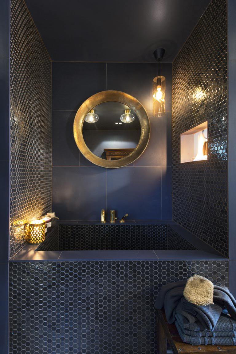 Modena badrum med Jotun färger. Hemmaspa.